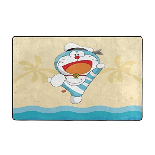 Doraemon - Alfombra antideslizante para sala de estar, 156 x 90 cm