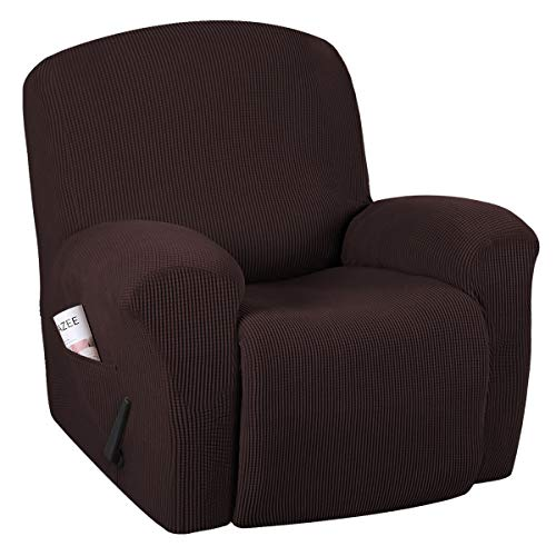 H.VERSAILTEX Super Stretch Couch Covers Recliner Covers Recliner Chair Covers Form Fitted Standard/Oversized Power Lift Reclining Slipcovers, Feature Soft Thick Jacquard, Chocolate, 1 Pack