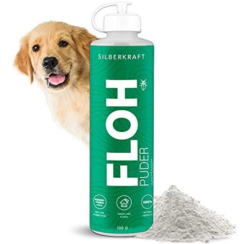 Silberkraft Flohpuder 100 g, zuverlässige Flöhe bekämpfen, für Tierumgebungen von Hund, Katze, Nagetiere, effiziente und garantierte Flöhe abwehren, hilfreiches Anti-Floh-Mittel
