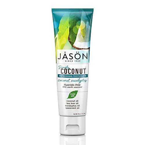 Jason Simply Coconut Refreshing Fluoride-Free Toothpaste, Coconut Eucalyptus, 4.2 Oz