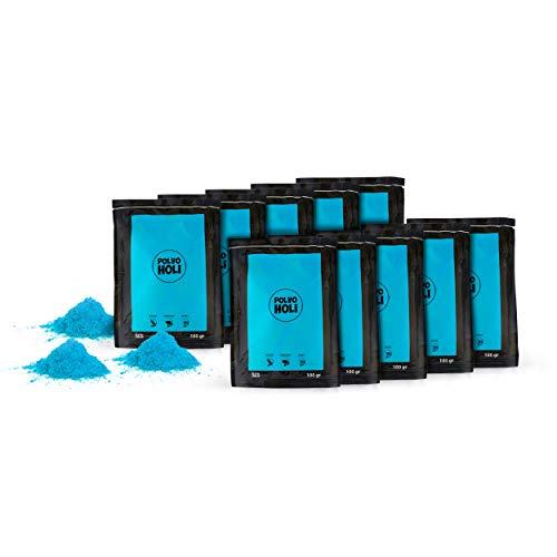 Paket 10 Beutel Holi Pulver von 100 Gramm (Hellblau)