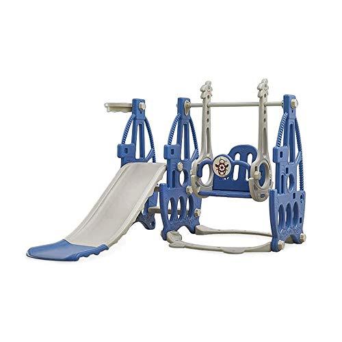 MDHDGAO Juego de toboganes de baloncesto 3 en 1 para niños, para el hogar, juegos de juegos y toboganes de plástico para interiores y exteriores, escalada, familia Kindergarten (color azul)