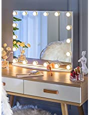 LUXFURNI Vanity Tabletop Makeup Hollywood Mirror Dimmable Light Touch Control 18 Cold/Warm LED Lights, Detachable 3X Magnification Mirror