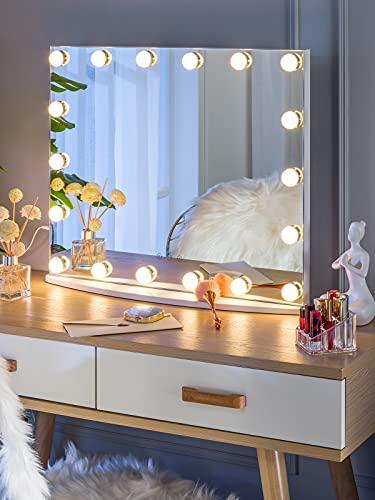 LUXFURNI Specchio per Trucco da Tavolo Hollywood con Luce dimmerabile alimentata Tramite USB, Touch Control, Luce Fredda/Calda(M)