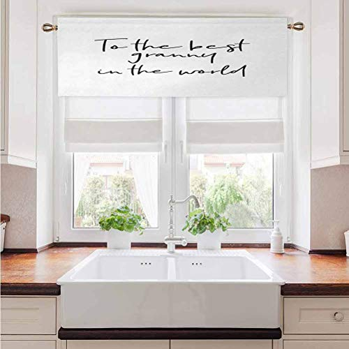 "Window Curtain Valance Grandma Energy Saving Curtain Valance Brush Calligraphy Hand Drawn Quote the Best Granny in the World Monochrome Design for Basement Bathroom Rod Pocket Panel 54""W x 12""L"