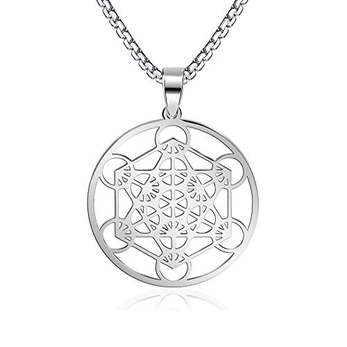 FLYUN Metatron's Cube Pendant for Men Women, Sacred Geometry Seals of Archangel Angel Necklace Stainless Steel Jewelry Silver