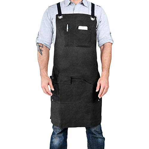 Armor Gear Durable Work Aprons for Men or Women 16oz Waxed Canvas Apron with 7 Pockets, Cross-Back Straps for Adjustable Sizes from S to XXL – Heavy Duty yet Comfortable with Style