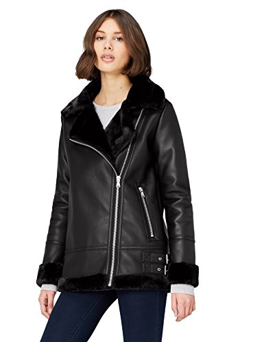 Marca Amazon - find. Alicia, Chaqueta Mujer, Negro (Schwarz), 38, Label: S