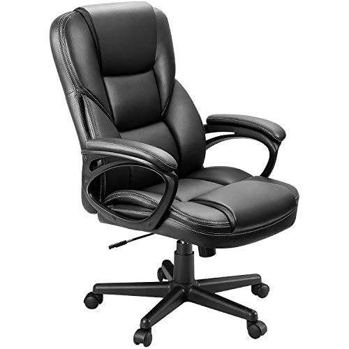 Furmax Office Exectuive Chair High Back Adjustable Managerial Home Desk Chair, Swivel Computer PU Leather Chair with Lumbar Support (Black)