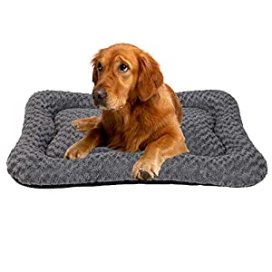 Coohom Deluxe Plush Calming Dog Bed Pet Cushion Crate Mat,Machine Wash Pet Bed for Medium Large Dogs (Large, Grey)