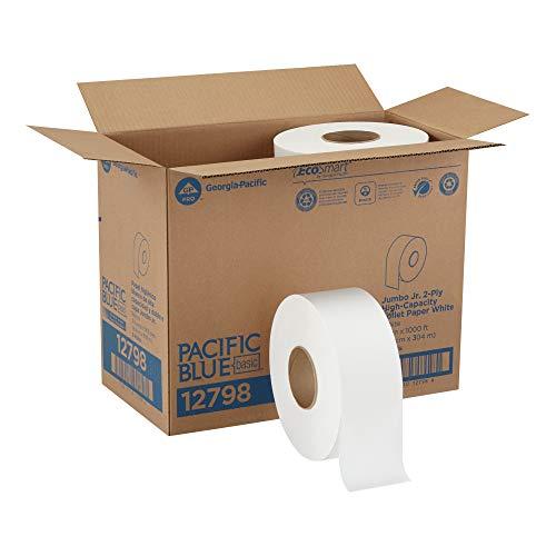 GEORGIA-PACIFIC Blue Basic 2-Ply Jumbo Roll Toilet Paper, 12798, 1000 Linear Feet per Roll, 8 Rolls Per Case, White