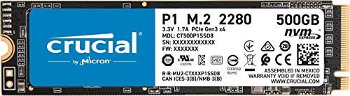 Crucial P1 500 GB CT500P1SSD8 Internal Solid State Drive-up to 1900 MB/s (3D NAND, NVMe, PCIe, M.2), Black