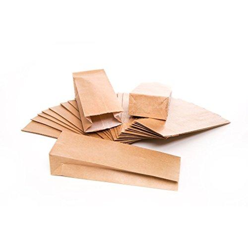 Logbuch-Verlag 100 kleine bruine papieren zakken met bodem + pergamijn inleg theetzakken 7 x 4 x 20,5 cm mini-zakken kraftpapier geschikt voor levensmiddelen verpakking blokbodem zakken