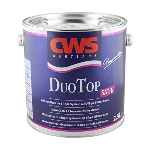 CWS CD Color Duo Top Satin, weiss, 2,5 L Seidenglänzender Allroundlack auf Alkyd-Silikon-Basis. Lösemittelbasiertes Ein-Topf-System zur Grund- und Decklackierung im Innen- und Außenbereich.
