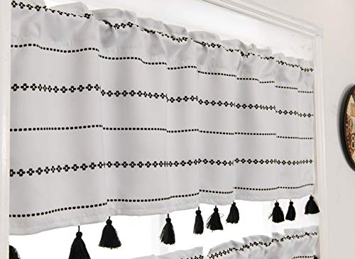 YoKii Boho Tassels Valances for Window 52''W x 18''L Room Darkening Ivory Striped Curtain Valance Window Treatments for Kitchen Bathroom Living Room Decors (W52 x L18, Ivory)