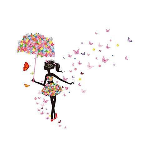 Scrox 1pcs Adhesivo de pared Flower Elf Girl pared Creativo Personalidad Papel pintado autoadhesivo Dormitorio DIY Vinilo decorativo 60 * 90cm PVC