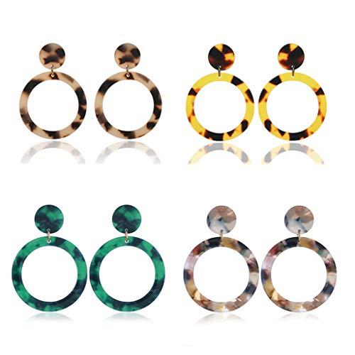 holilest Ear Ring, 4 Pair/set Simple Geometric Acrylic Sheet Leopard Earrings Set Fashion Women Lady Ear Jewelry Gifts- 3