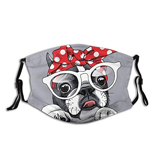 Cute Funny French Bulldog Dog With Glasses Face Mask With Filters, For Adult Women Men Teens