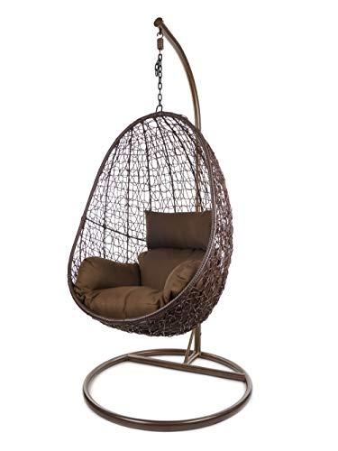 Kideo Komplettset: Hängesessel mit Gestell & Kissen, Indoor & Outdoor, Poly-Rattan (Gestell- und Korbfarbe: braun, Kissen: Dunkelbraun Nest (7790 Chocolate))