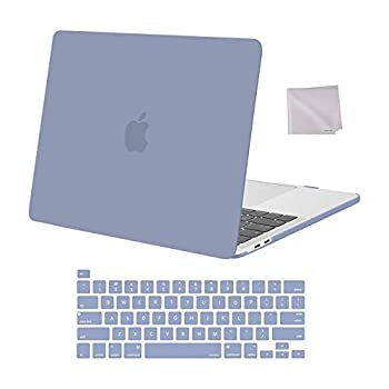 MOSISO Compatible with MacBook Pro 13 inch Case 2016-2020 Release A2338 M1 A2289 A2251 A2159 A1989 A1706 A1708 Plastic Hard Shell Case & Keyboard Cover Skin & Wipe Cloth Lavender Gray