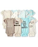 Gerber Baby Boys' 8 Pack Short-Sleeve Onesies Bodysuits, Fox, Newborn