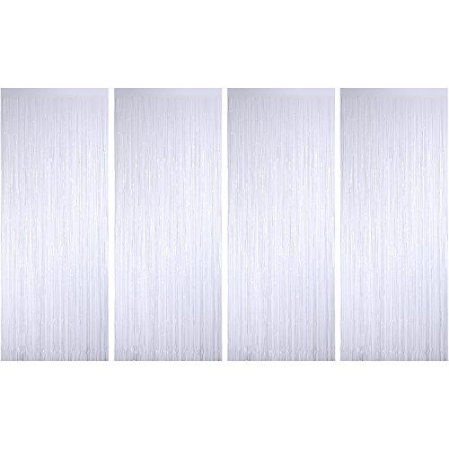4 Packung Folie Vorhänge Metallic Fringe Vorhänge Schimmer Vorhang für Geburtstag Hochzeit Weihnachten Schmuck (Weiß)