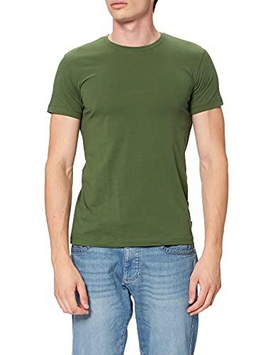 Esprit Rundhals Basic Camiseta, 350/Khaki Green-New versión, XS para Hombre