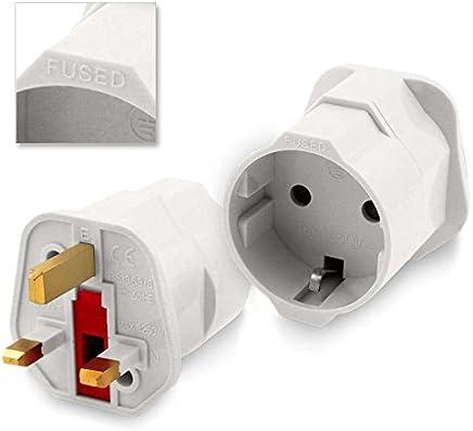 Adaptador Red Enchufe Europeo UE Schuko a UK Ingles Reino Unido Universal Plug