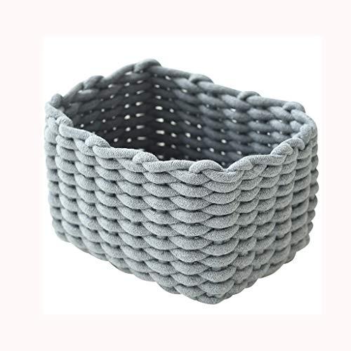 XYZMDJ Cesta de almacenamiento tejida a mano de algodón, cubo de almacenamiento de lino de algodón, cesta de lavandería, cesta de almacenamiento de desechos