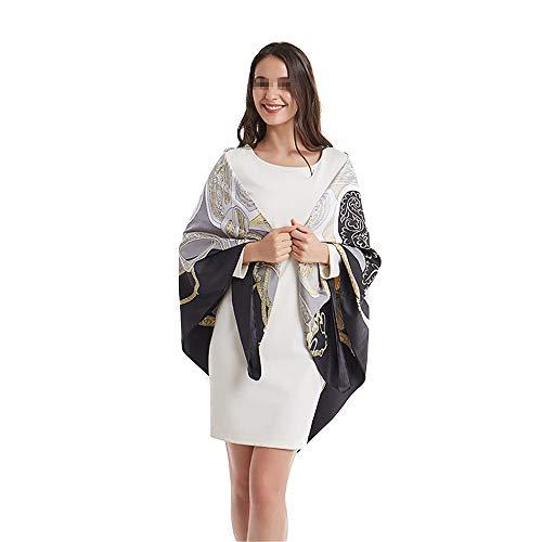 Dhmm123 Bufandas cálidas Señoras Señoras Gran Bufanda de Seda Cuadrada Sillín de impresión Cabeza de Bufandas 130 cm para Regalos del día de la Madre (Color : Black, Size : 130 * 130cm)