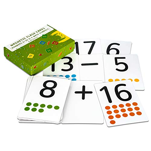 Attractivia Magnetic Number Flash Cards - Large 0-25 Number Cards with Addition, Subtraction, Multiplication and Division Symbols - for Homeschool, Teachers, Parents