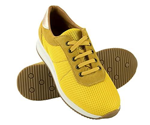 Zerimar Calzado Casual Mujer Piel   Deportivas Mujer Cuero   Zapatos Planos Mujer   Zapatillas Mujer Piel   Zapatillas Casuales   Color: Amarillo Talla 38