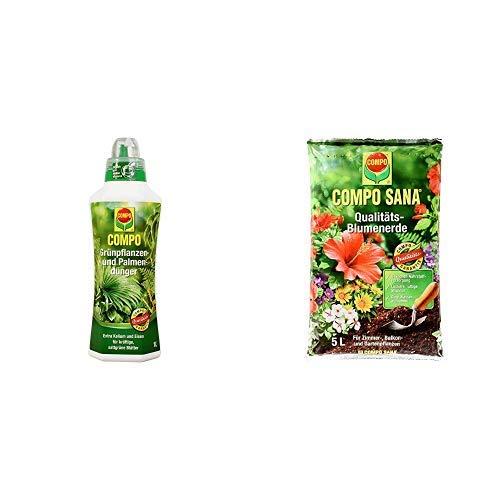 COMPO Grünpflanzen- und Palmendünger für alle Zimmer-, Balkon- und Terrassenpflanzen, Spezial-Flüssigdünger mit extra Kalium und Eisen, 1 Liter & SANA Qualitäts-Blumenerde mit 8 Wochen Dünger 5 Liter