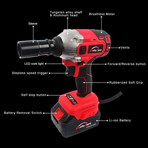AUTOJARE Cordless Impact Wrench Kit, Brushless 20V Max / 18V Lithium-Ion 1/2 Inch Cordless Wrench Kit