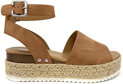 SODA Topic Topshoe Avenue Women's Open Toe Ankle Strap Espadrille Sandal (8.5 M US, Tan)