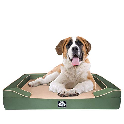 Sealy Dog Bed Lux Elite Pet Dog Bed, Quad Layer Technology with Memory Foam, Orthopedic Foam, Cooling Energy Gel Machine Washable Cover, X-Large