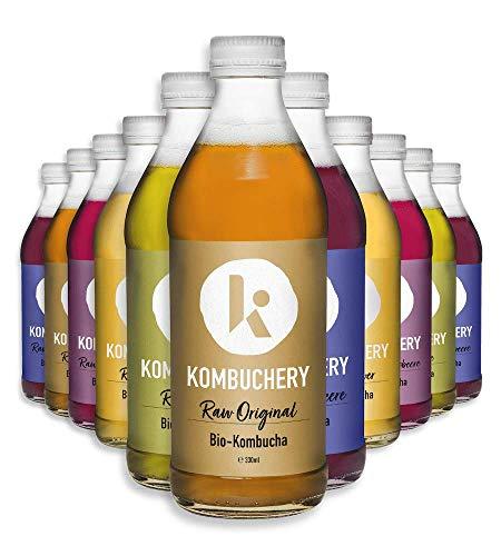 12x 330ml Bio-Kombucha RAW PROBIERMIX KOMBUCHERY: Fermentiert Unpasteurisiert Probiotisch Vegan Kalorienarm