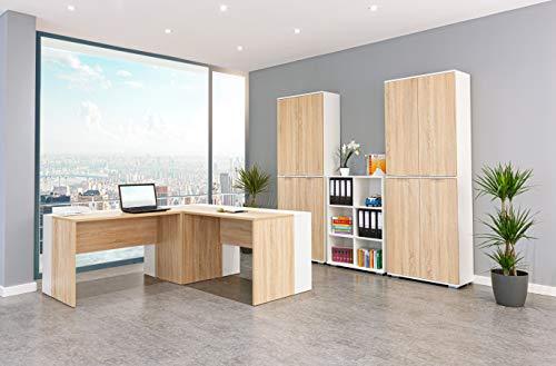 Büromöbel Komplettset - Büroeinrichtung - Bürzimmer [Funktional und Robust] Arbeitszimmer - Büroset 13 TLG. - Weiß/Sonoma-Eiche | Büro Möbel