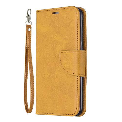 Docrax Handyhülle Lederhülle für Huawei [P8 Lite 2017], Flip Case Schutzhülle Hülle mit Standfunktion Kartenfach Magnet Brieftasche für Huawei P8Lite (2017) - DOBFE150328 Gelb
