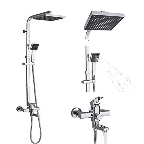 Gnailur Cuarto de baño Ducha Ducha Grifo Conjunto Sola manija Mezclador Grifo con cabeza de ducha de 8 pulgadas ABS Ducha a mano