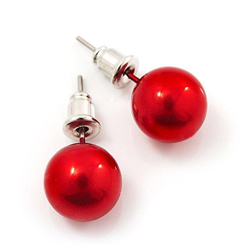 Red Lustrous Faux Pearl Stud Earrings (Silver Tone Metal) - 7mm Diameter
