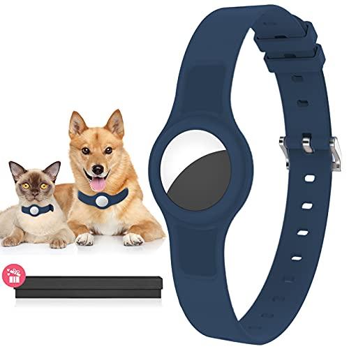 GAGBK Hundehalsband für Airtag Anhänger, Airtag Hülle für GBS Tracking Hund und Katze, Silikon Schutzhülle für Apple Airtag Anti-Lost, Länge Verstellbar 8,8