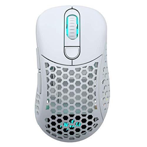 Pwnage Ultra Custom Wireless Ergo - White Ultra Lightweight Honeycomb Design Gaming Mouse 3335 Sensor - PTFE Skates - 6 Buttons - Custom Weight 69G