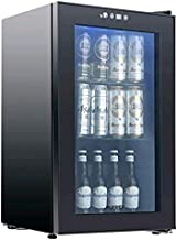 KUPPET 80-Can Beverage Cooler and Refrigerator,Mini Fridge for Home, Office or Bar with Glass Door and Adjustable Removable Shelves,Perfect for Soda Beer or Wine, Black, 2.3 Cu.Ft.