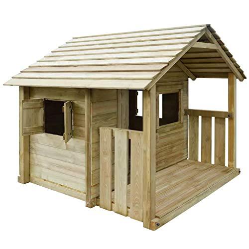 Kinderspielhaus Holzhaus Gartenhaus mit 3 Fenstern 204 x 204 x 184 cm, Kinder Spielhaus Leonie Gartenhaus Kinderhaus Spielhaus Holz, Big Haus für Kinder mit Garten Spielhaus