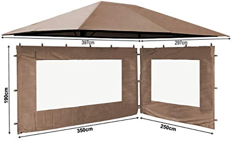 QUICK STAR Set Ersatzdach und 2 Seitenteile für Garten Pavillon 3x4m Taupe RAL 7006 Antik Pavillondach Ersatzbezug Seitenwnde