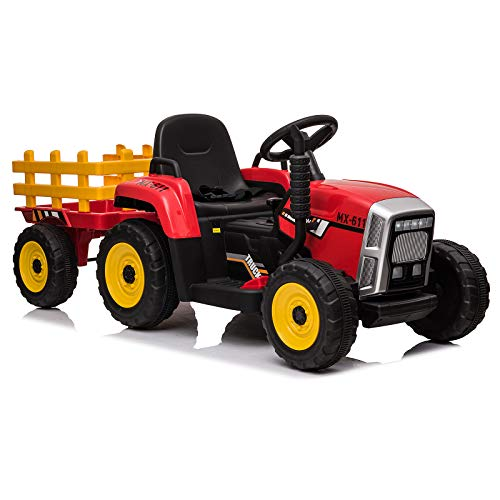 sopbost 12V Ride On Tractor with Remote Control Electric Cars for Kids Toy Ride On Car Battery Powered Tractor with Detachable Trailer, LED Light, Bluetooth, Music Player, Red