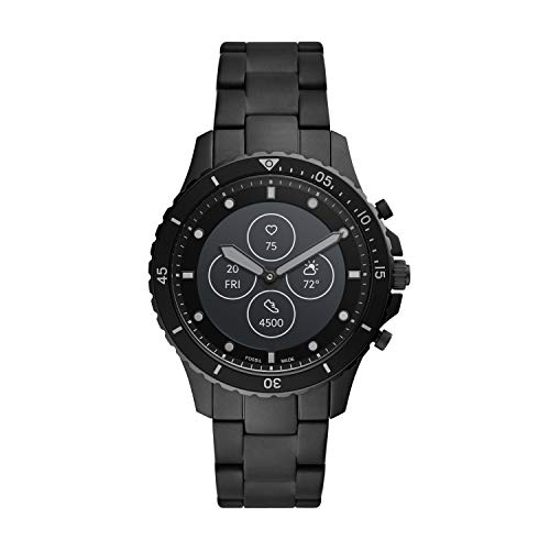 Fossil Men's 44MM FB-01 HR HR Heart Rate Stainless Steel Hybrid HR Smart Watch, Color: FB-01 - Black (Model: FTW7017)