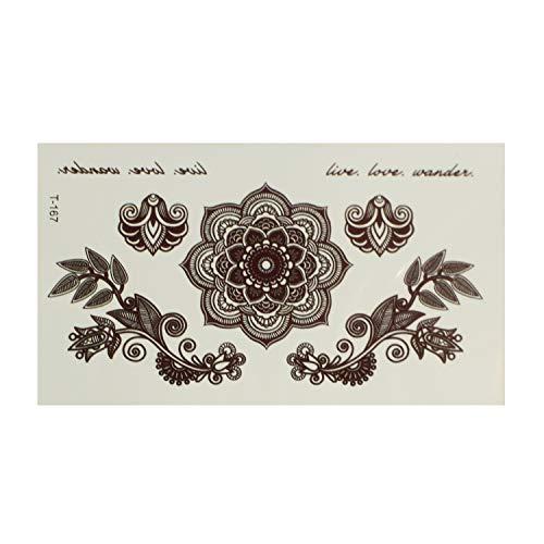 1 x Mandala Set Tattoo in schwarz - Blumen und Schriftzug - Temporary Body Tattoo - T167 (1)