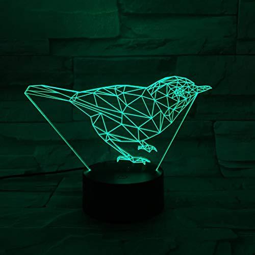 Leuke vogel illusie nachtlampje 3D LED tafel bureaulampen, 7 kleuren USB opladen bedlampje slaapkamerdecoratie voor kinderen Kerstmis verjaardagscadeau